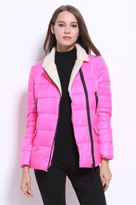 Short Style Pretty Warm Down Jackets,Hot Pink Beauty Women Coats,Comfy Winter Jackets