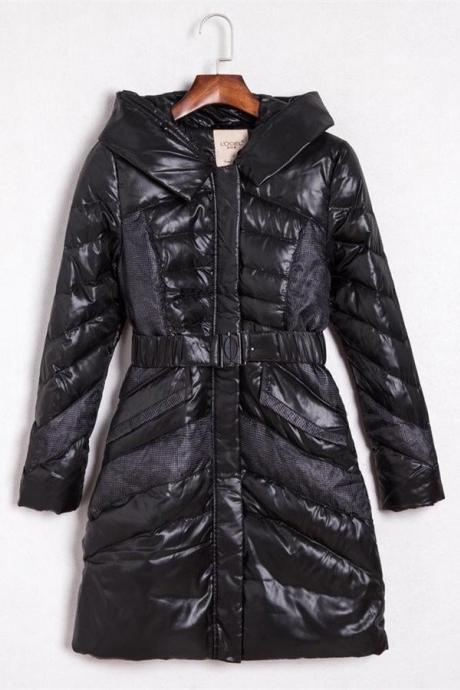 Black Long Warm Women Coats,Beauty Comfy Down Jackets,Simple Style Winter Jackets