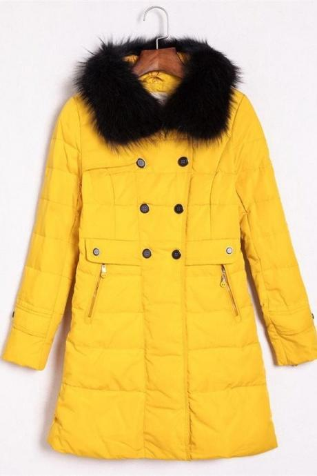 Pretty Yellow Long Style Warm Comfortable Long Style Down Jackets,Winter Jackets