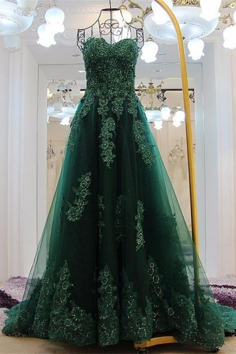 Sweetheart Long Lace Prom Dresses,Green Sweep Train Prom Gowns,Formal Evening Dresses,Lace Up Party Dresses