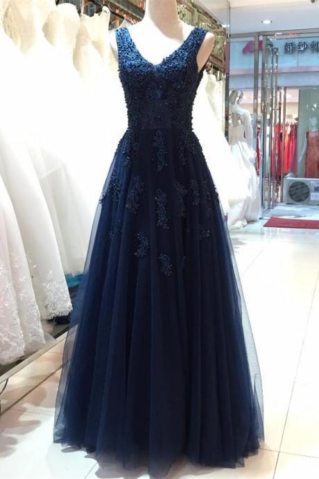 Floor Length V-neck Prom Dresses,Open Back Evening Dresses,Beautiful Navy Blue Prom Gowns,Women Dresses