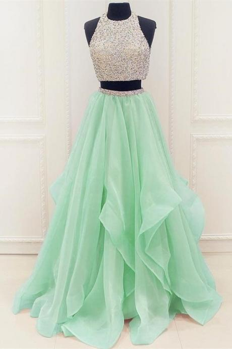 Charming Two Pieces Long Prom Dresses,Beading Halter Tulle Prom Dresses,Lovely Girly Prom Gowns,