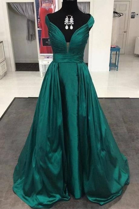 Dark Green Deep V-neck Long Prom Dresses,Simple Evening Dresses,Handmade Plus Size Cheap Prom Gowns,Long Prom Dress,Evening Dresses,DR0393