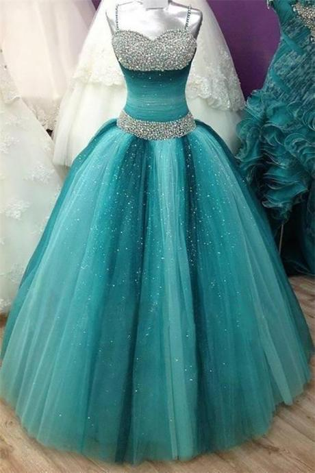 Spaghetti Straps Long Ball Gown Prom Dresses,Beading Sequin Shiny Prom Gowns,Quinceanera Dresses,Modest Prom Dress FOr Teens DR0485