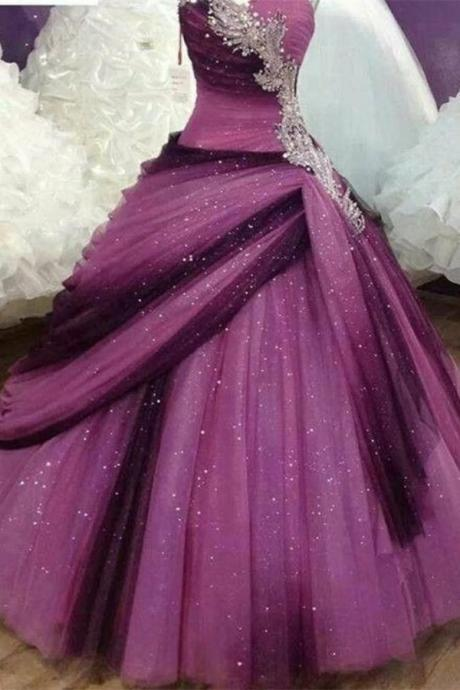 Beautiful Strapless Quinceanera Dresses,Ball Gown Prom Dresses,Gorgeous Sequin Shiny Prom Gowns,Sparkly Prom Dress For Teens DR0528