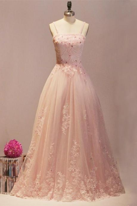 Blush Pink Prom Dresses,Ball Gown Prom Dresses,Quinceanera Dresses,Girly Prom Dresses For Teens,Evening Dresses,Lace Beading Party Dresses DR0500