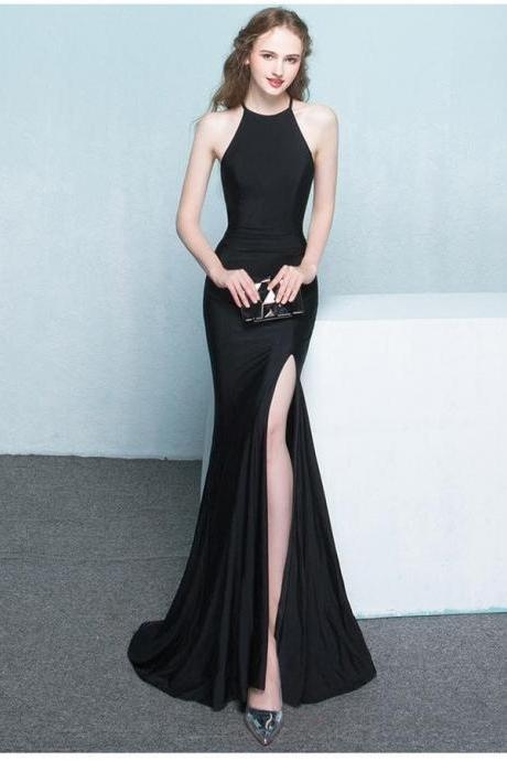 Beautiful Long Front Split Prom Dresses,Charming Simple Cheap Prom Gowns,Evening Gowns,Black Elegant Prom Dress