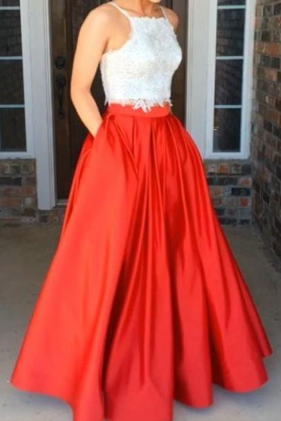 Spaghetti Straps Long Red Prom Dresses,Lace Prom Gowns,Pretty Party Dresses,Beautiful Evening Dresses,Prom Dress For Teens DR0467