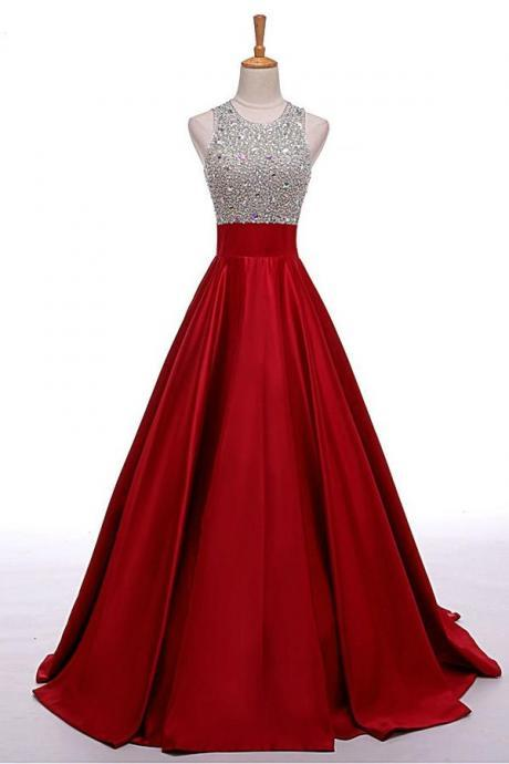 High Low Beaded Red Prom Dresses,Beautiful Evening Dresses,Simple Cheap Prom Gowns,Modest Graduation Dresses DR0454