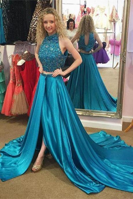 Blue Two Pieces Prom Dresses,High Neckline Front Split Prom Gowns,Formal Evening Dresses,Beautiful Evening Dresses
