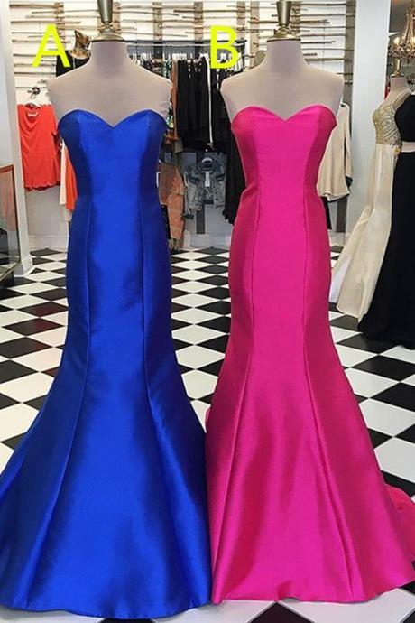 Hot Pink And Royal Blue Lace Up Long Prom Dresses,Simple Cheap Sweetheart Prom Gowns,Elegant Bridesmaid Dresses,Party Dresses