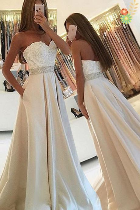 Ivory Satin Sweetheart Long Prom Dresses,Simple Lace Beaded Prom Gowns,Open Back High Quality Evening Dresses,Prom Dresses 2017