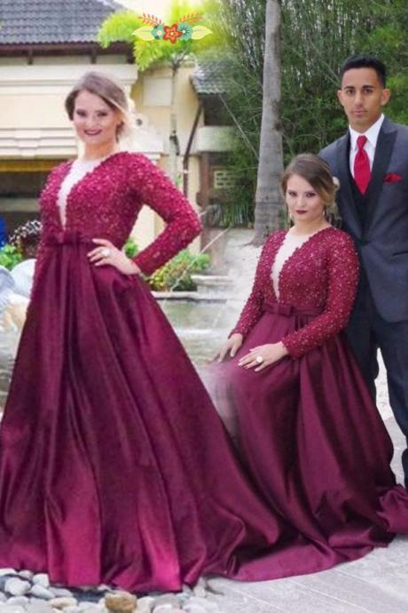 Plus Size Long Sleeves Deep V-neck Prom Dresses,A-line Modest Prom Dress,Prom Dresses 2017,Burgundy Beading Evening Dresses,Mother Of Bridal Dress