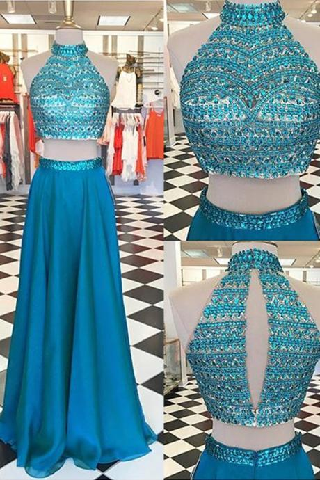 High Neckline Long Two Pieces Prom Dresses For Teens,Handmade Beading Prom Gowns,Pretty Prom Dress,Princess Party Dresses