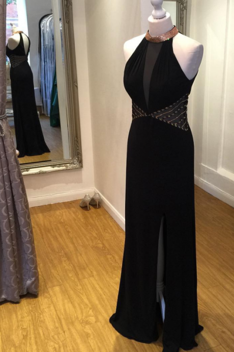 Halter Backless Long Black Prom Dresses,Sexy Evening Dresses,Front Split Prom Gowns,Evening Gowns,Charming Party Dresses,Black Dresses