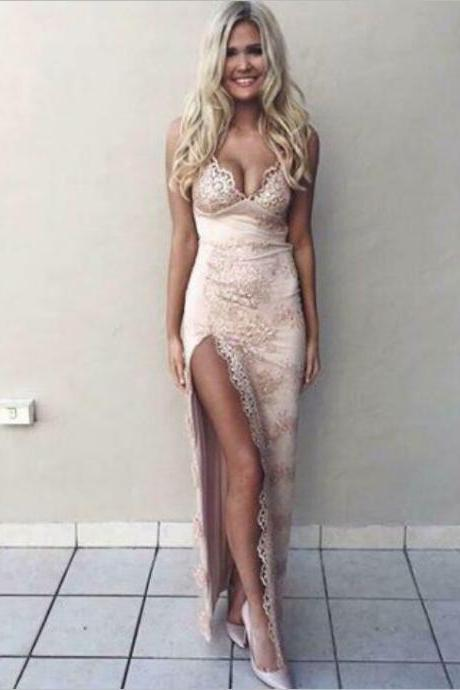 Front Split Long Lace Pink Backless Prom Dresses For Teens,Handmade Evening Dresses,Sexy Prom Gowns,Women Dresses,Party Dresses
