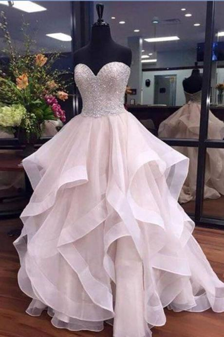 Sweetheart Ball Gown Long Prom Dresses For Teens,Beaded Evening Dresses,Sparkly Prom Dresses,Gorgeous Party Dresses,Cute Dresses,Princess Dresses