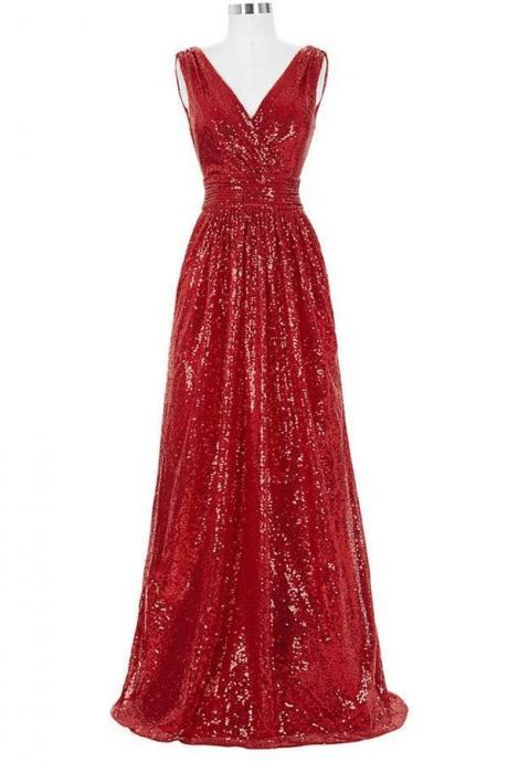 Sparkly Long Red Prom Dresses,V-neck Prom Gowns,Sequin Shiny Evening Dresses,Handmade Cheap Prom Gowns,Party Dresses,Bridesmaid Dresses