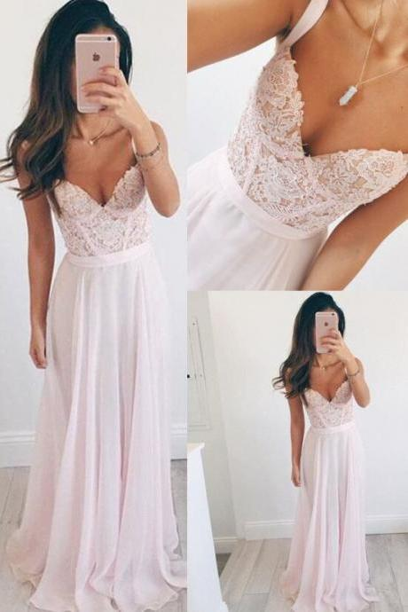 Top Selling Elegant Long Chiffon Pink Prom Dresses For Teens,Lace A-line Prom Dress,Prom Dresses 2017,Girly Party Dresses,Bridesmaid Dresses