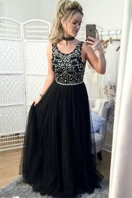 Black Prom Dresses With Silver Beads,Long Prom Dresses,Tulle Prom Dresses,Elegant Prom Dresses,Formal Evening Dresses,Charming Party Dresses,Women Dresses