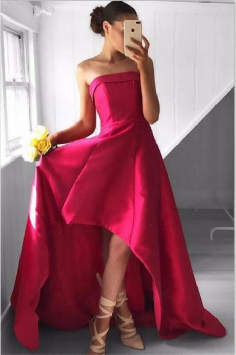 Strapless Long Prom Dresses,High Low Prom Dresses,Satin Prom Dresses,Simple Prom Dresses,Cheap Prom Dress,Plus Size Prom Dresses,Evening Dresses,Party Dresses,Women Dresses,Prom Gowns
