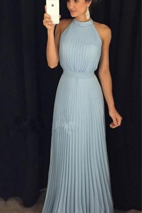 Light Blue Prom Dresses,Chiffon Prom Dresses,Pleated Prom Dresses,Elegant Prom Dress,Long Prom Dresses,Simple Cheap Prom Gowns,Halter Party Dresses,Evening Dresses,Cute Dresses