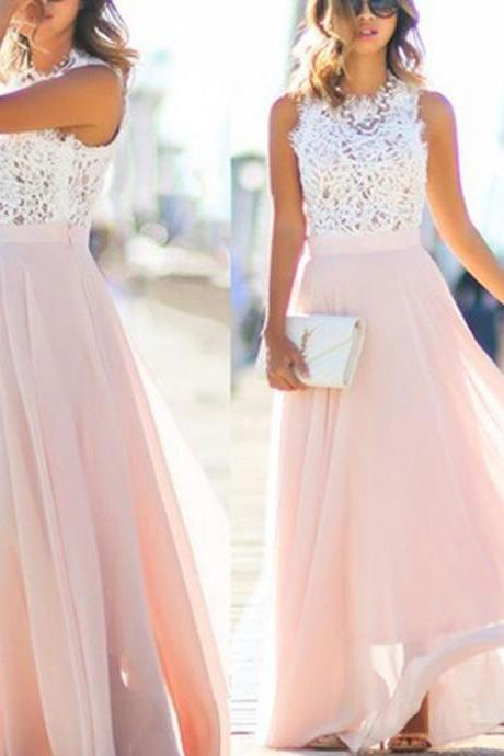 Pink Prom Dresses,Chiffon Prom Dresses,Lace Prom Dress,Long Prom Dresses,Evening Dresses,Charming Prom Dress,Prom Gowns