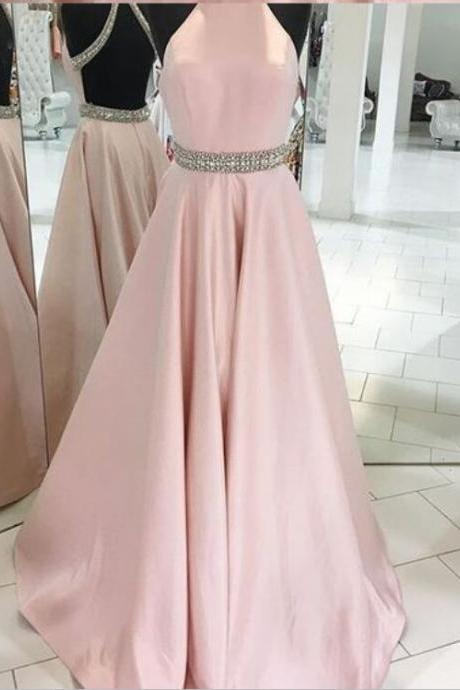 Pink Backless Prom Dresses,Halter Prom Dresses,Simple Handmade Prom Dresses,Plus Size Prom Dresses,Evening Dresses,Elegant Prom Dresses,Prom Gowns,Party Dresses