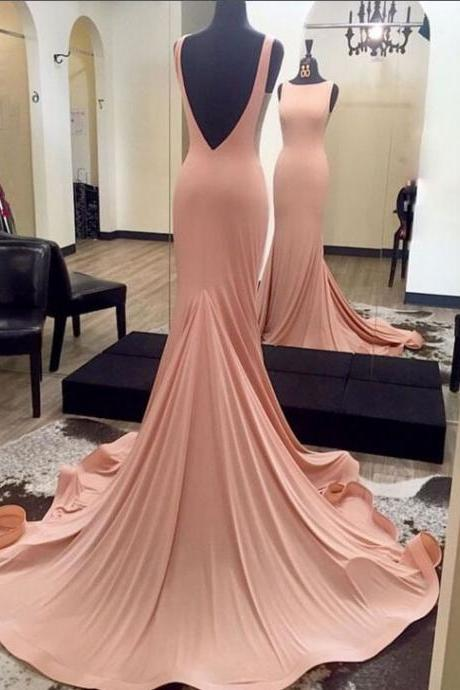 Sweep Train Prom Dresses,Long Prom Dresses,Pink Prom Dresses,Mermaid Prom Dresses,Backless Prom Dresses,Simple Cheap Prom Dresses,Prom Dresses 2017