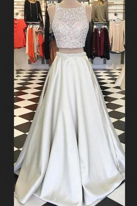 Long Prom Dresses,Two Pieces Prom Dresses,Cheap Simpe Prom Dresses,Handmade Prom Dresses For Teens,Evening Dresses,Party Dresses,Beaded Prom Dresses