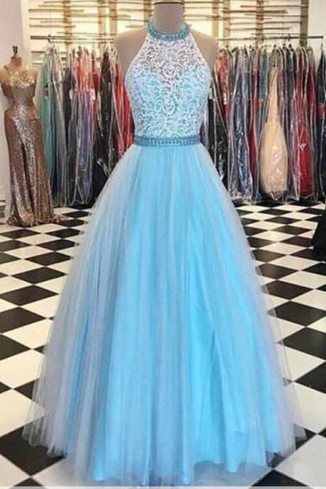 Light Blue Prom Dresses,Lace Prom Dress,Halter Prom Dress,A-line Prom Gowns,Long Prom Dresses,Evening Dresses,Simple Handmade Prom Gowns,Cheap Plus Size Prom Dresses,Party Dresses