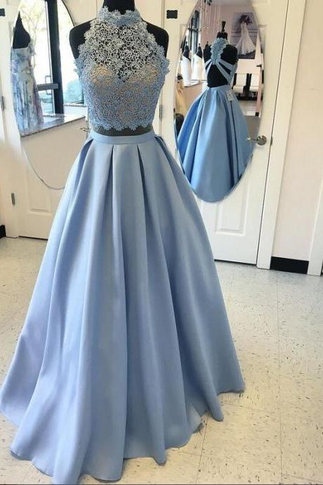 Light Blue Long Prom Dresses,Two Pieces Prom Dresses For Teens,Lace Prom Dress,A-line Prom Dresses,Satin Prom Dresses,Simple Cheap Elegant Prom Dresses,Prom Gowns,Evening Dresses
