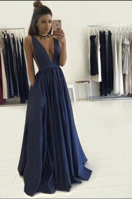 Navy Blue Prom Dresses,V-neck Prom Dresses,Simple Cheap Handmade Prom Dress,Prom Dresses For Teens,A-line Prom Gowns,Modest Evening Dresses,Elegant Party Dresses