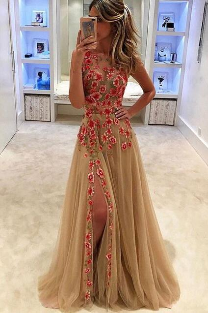 Front Split Prom Dress,A-line Prom Dress,Sparkly Prom Dresses,Elegant Prom Gowns,Formal Evening Dresses,Beautoful Party Dresses,Cute Dresses,Tulle Women Dresses,Sweet 16 Dresses