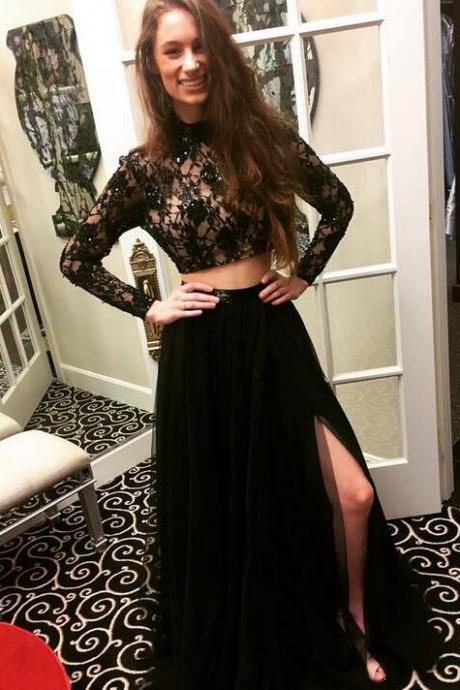 Long Sleeves Prom Dresses,Modest Prom Dresses,Black Prom Dresses,Two Pieces Prom Dresses,Beaded Lace Prom Gowns,Long Prom Dresses,Elegnat Evening Dresses,Women Dresses,Party Dresses