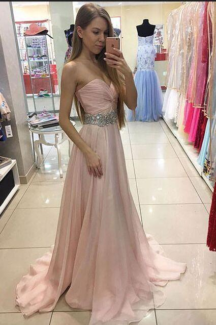 Pink Prom Dresses,Chiffon Prom Dresses,Long Prom Dresses,Beaded Prom Gowns,Cute Prom Dresses For Teens,Evening Dresses,Simple Cheap High Quality Prom Dresses,Party Dresses,2017 Prom Dresses