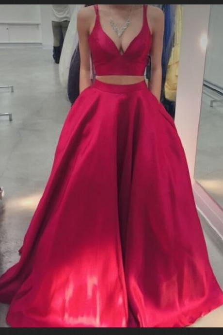 Red Prom Dresses,Two Pieces Prom Dresses,Evening Dresses,Sparkly Prom Dresses,Beautiful Party Dresses,Simple Cheap Plus Size Prom Gowns,Party Dresses,Cute Dresses