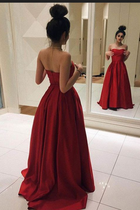 Strapless Prom Dresses,Satin Prom Dresses,A-line Prom Dresses,Modest Evening Dresses,Backless Prom Gowns,Party Dresses,Sparkly Prom Dress For Teens,2017 Prom Dress