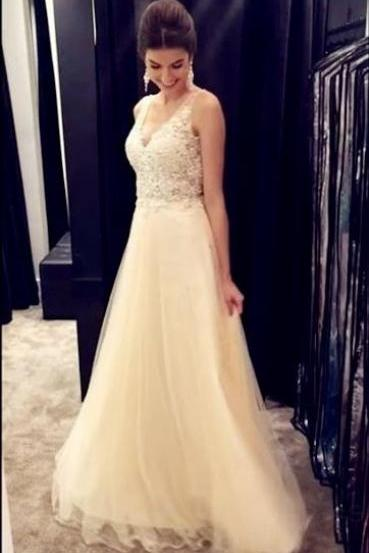 Champagne Prom Dress,Long Prom Dresses,Lace Prom Dresses,Tulle Prom Gowns,V-neck Backless Prom Dresses For Teens,Prom Dress 2017,Party Dresses,Evening Dresses