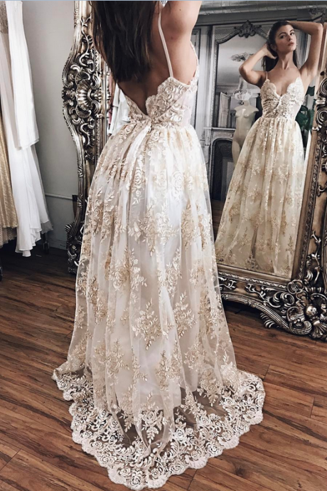 Champagne Lace With White Lining Prom Dresses,Princess Prom Dresses,Lace Prom Dresses,Evening Gowns,Women Dresses,Backless Prom Dresses,Lace Prom Dresses,V-neck Prom Dress.Wedding Dresses DR0146