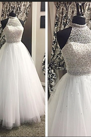 White Prom Dresses,Ball Gown Prom Dresses,Halter Prom Dresses,A-line Prom Dresses,Beaded Prom Dress,Prom Gowns,Evening Dresses,High Quality Prom Dress,Cheap Prom Dresses