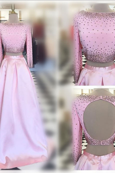 Pink Prom Dresses,Two Pieces Prom Dresses,Beaded Prom Dresses,Backless Prom Dresses,Long Sleeves Prom Dresses,Evening Dresses,Logn Prom Dresses,Prom Gowns
