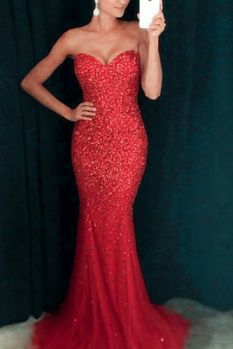 Red Sweetheart Neckline Glittery Mermaid Prom Dress / Long Evening Dress