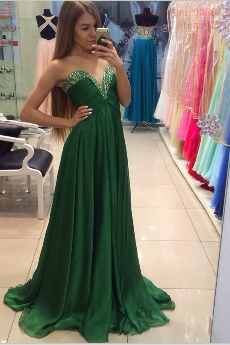 Long Prom Dresses,Chiffon Prom Dresses,High Low Prom Dresses,Beaded Dresses,Green Prom Dresses,Strapless Prom Gowns,V-neck Party Dresses,Women Dresses,Evening Dresses
