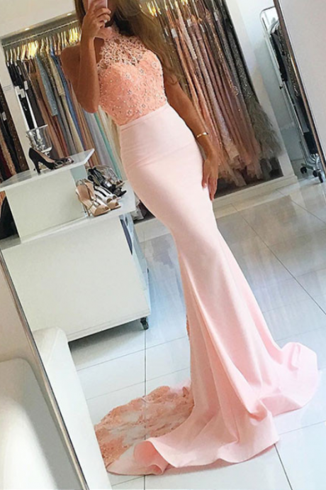 Pink Prom Dresses,Halter Prom Dresses,Lace Prom Dresses,Prom Gowns,Backless Prom Dresses,Mermaid Prom Dresses,Beaded Evening Dresses,Cute Dresses,Long Prom Dresses,Prom Dresses 2017