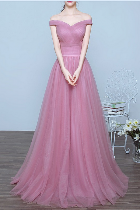 Pink Prom Dresses,Long Prom Dresses,Off Shoulder Bridesmaid Dresses,A-line Prom Gowns,Evening Dresses,Party Prom Dresses,Open Back Prom Dress,Simple Prom Dresses,Cheap Prom Dresses,Evening Gowns,Elegant Gowns