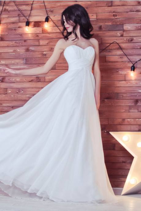 White Chiffon Ruched Sweetheart Floor Length A-Line Wedding Dress