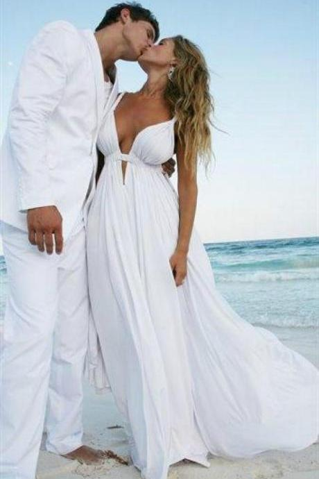Deep V-neck Beach Wedding Dresses,Long Wedding Dresses,Simple Cheap Wedding Gowns,Charming Bridal DressesChiffon Bridal Gowns,Elegant Wedding Dresses