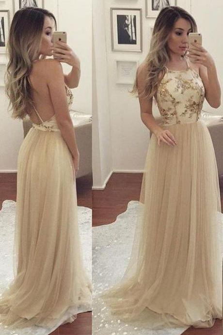 Simple Champagne Tulle Prom Dresses,Long Prom Dresses,Evening Dress,Prom Gowns,Backless Prom Dresses For Teens,Prom Dresses 2017,Party Dresses,Cute Dresses