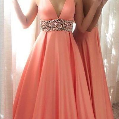 Deep V-neck Prom Dress,Prom Dresses,Prom Gowns,Long Prom Dresses,Beading Prom Dress,Pink Prom Dress,Modest Evening Dresses,Prom Dresses For Teens,Pretty Party Dresses DR0180